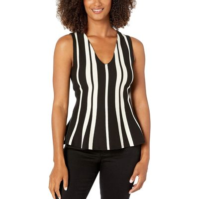 Anne Klein - Anne Klein Anne Black/Anne White V-Neck Knit Tank