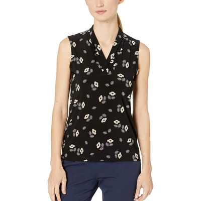 Anne Klein - Anne Klein Anne Black/Oyster Shell Combo Rose Rush Printed Triple Pleat Top