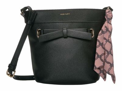 Anne Klein - Anne Klein Black Bucket Bow Cross Body Bag