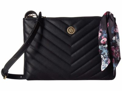 Anne Klein - Anne Klein Black Floral Cross Body Bag
