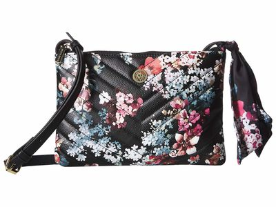 Anne Klein - Anne Klein Black Floral Floral Cross Body Bag