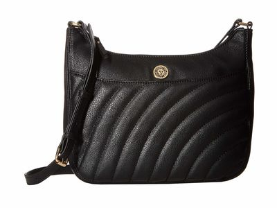 Anne Klein - Anne Klein Black Top Zip U Cross Body Bag