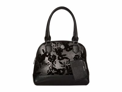 Anne Klein - Anne Klein Black/Multi Triple Compartment Dome Satchel Handbag
