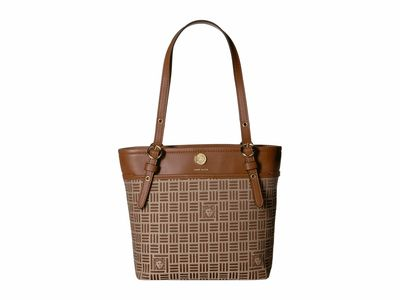 Anne Klein Brown Logo Pocket Tote Handbag