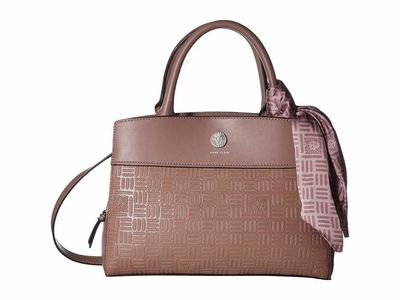 Anne Klein - Anne Klein Lilac Emboss Lion Top-Handle Satchel Handbag