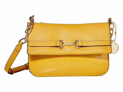 Anne Klein - Anne Klein Mustard Gold Top Zip Cross Body Bag