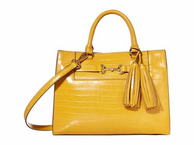 Anne Klein - Anne Klein Mustard Gold Top Zip Satchel Handbag