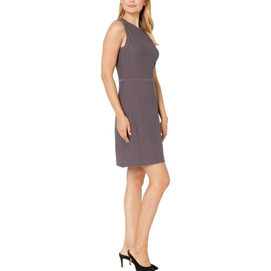 Anne Klein Nantucket Grey Textured Fit-And-Flare Sweater Dress