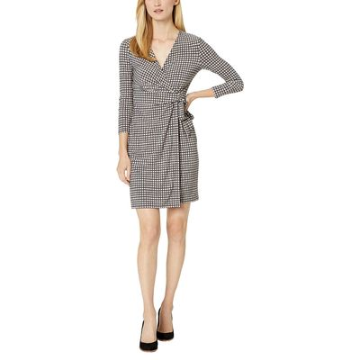Anne Klein - Anne Klein Nantucket/Oyster Shell Pearly Dot Printed Ity Classic Wrap Dress