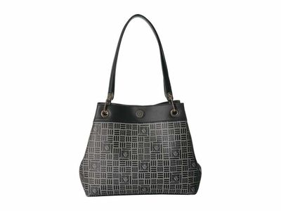 Anne Klein - Anne Klein Natural/Black 4 Poster Satchel Handbag