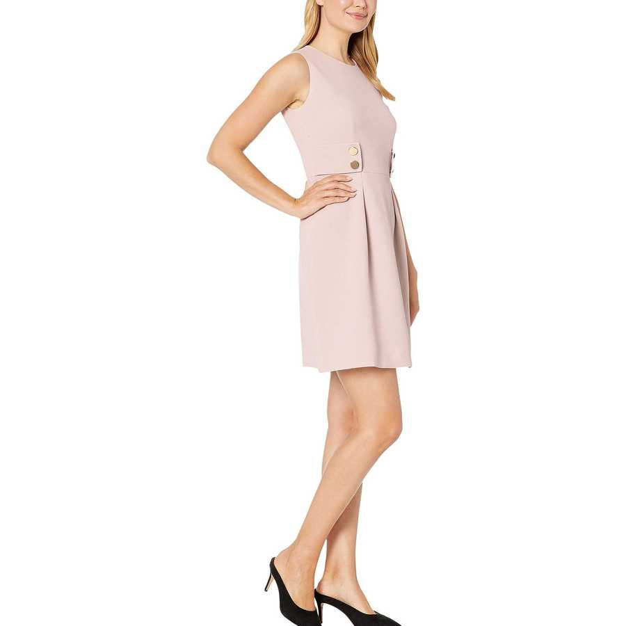 Anne Klein Oyster Shell Crepe Fit-And-Flare Dress