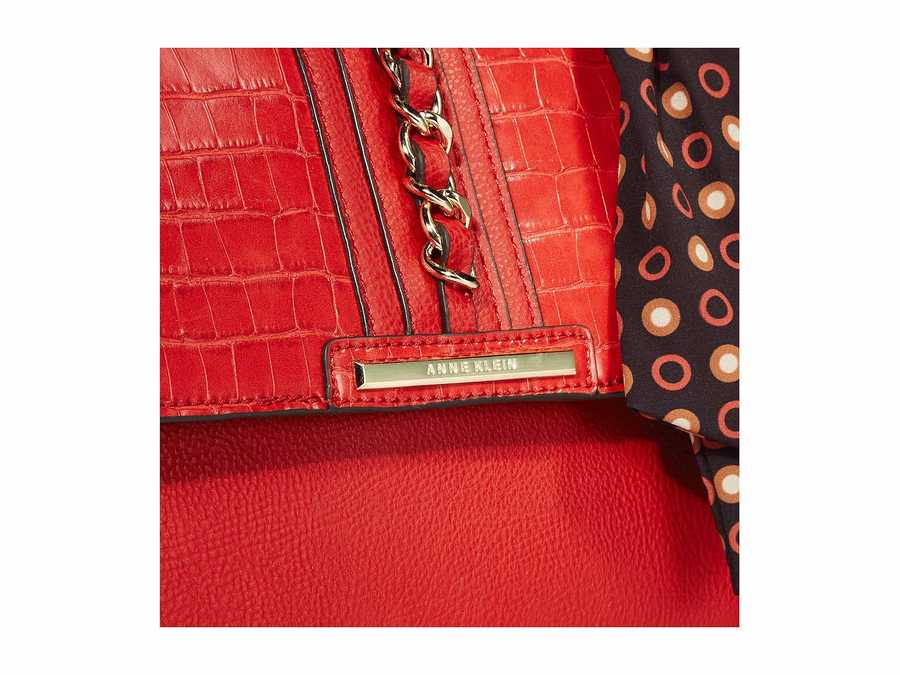 Anne Klein Red Top-Handle Chain Satchel Handbag