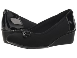 Anne Klein Women Black Combo Fabric Sport Darlene Wedge Heels - Thumbnail