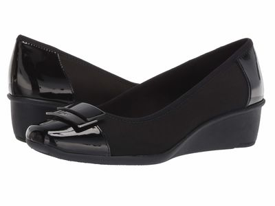 Anne Klein - Anne Klein Women Black Multi Fabric Waverly Wedge Heels