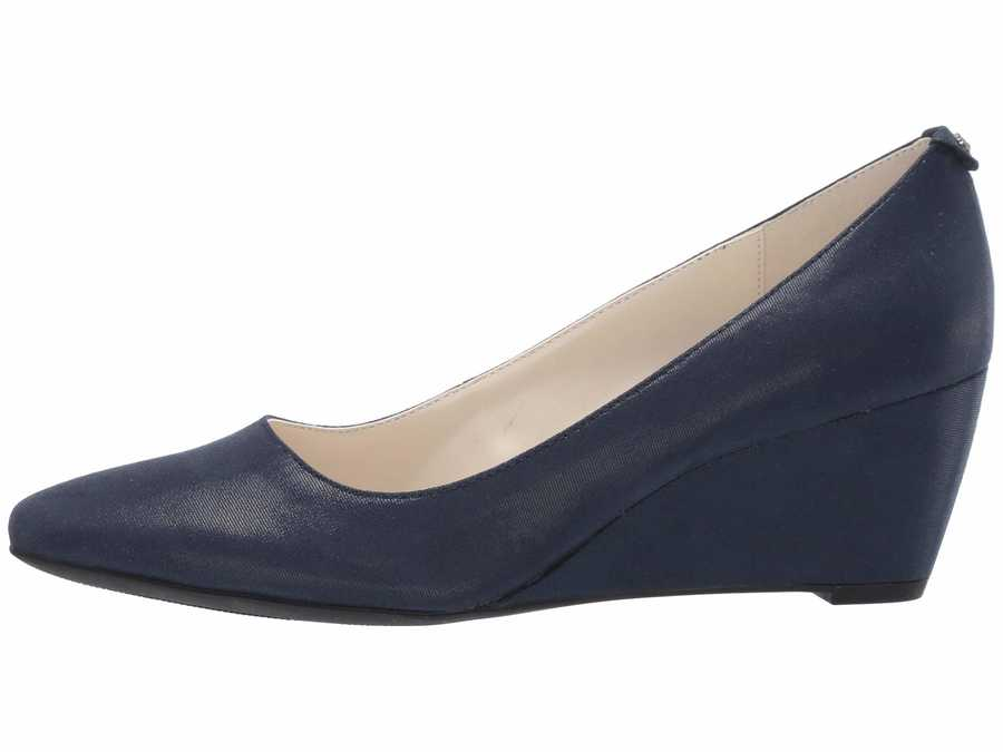 Anne Klein Women Navy Fabric İsley Wedge Heels