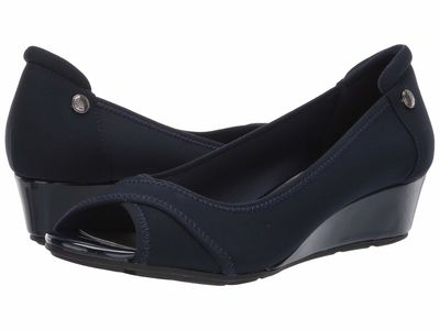 Anne Klein - Anne Klein Women Navy Sport Corner Wedge Heel Wedge Heels