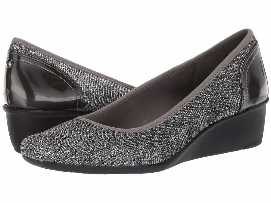 Anne Klein Women Pewter Sport Wisher Wedge Heels