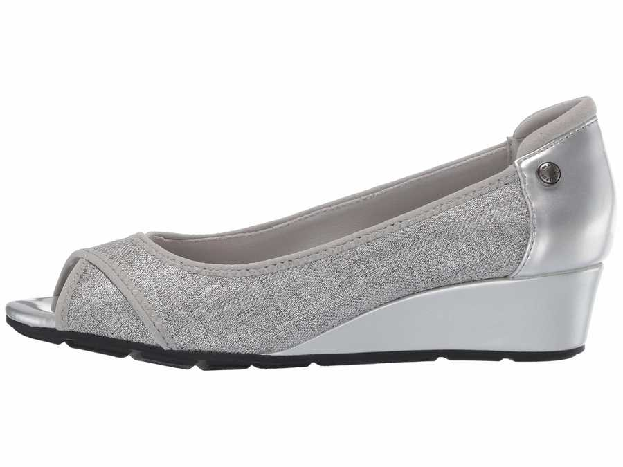 Anne Klein Women Silver Sport Corner Wedge Heel Wedge Heels