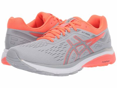 Asics - Asics Women Mid Grey/Flash Coral Gt-1000 7 Running Shoes