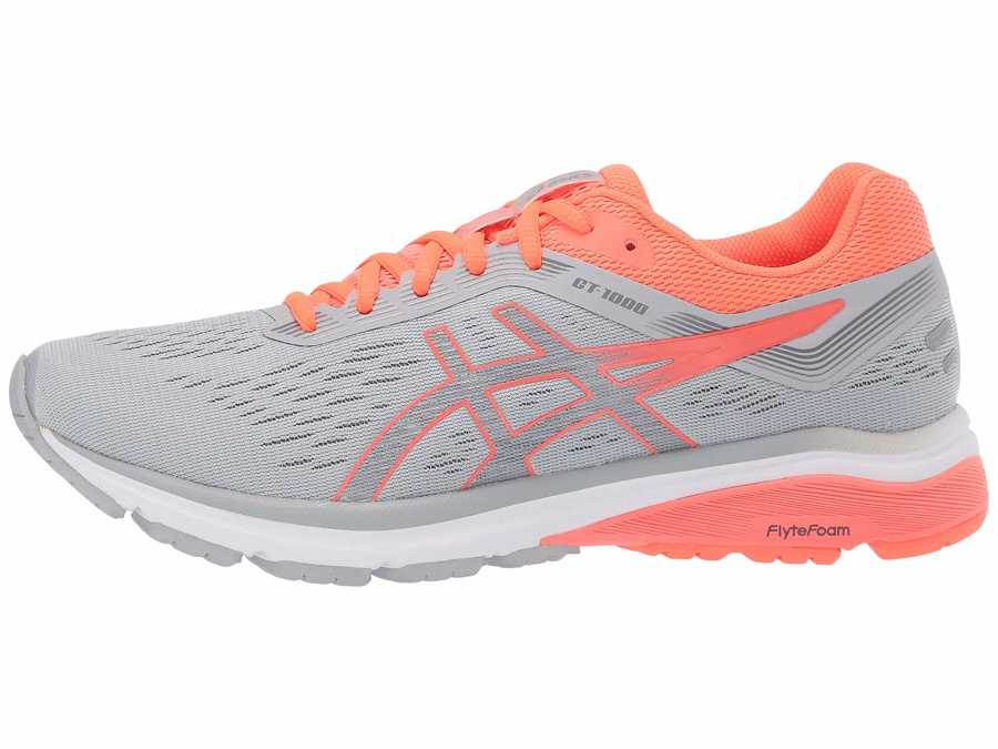 Asics Women Mid Grey/Flash Coral Gt-1000 7 Running Shoes
