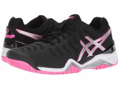 Asics - ASICS Women's Black Silver Hot Pink Gel-Resolution 7 Athletic Shoes
