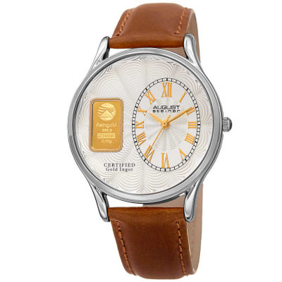August Steiner - August Steienr Men's .10g Gold Bar Guilloche Dial Genuine Leather Strap Watch AS8224SS