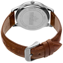 August Steienr Men's .10g Gold Bar Guilloche Dial Genuine Leather Strap Watch AS8224SS - Thumbnail