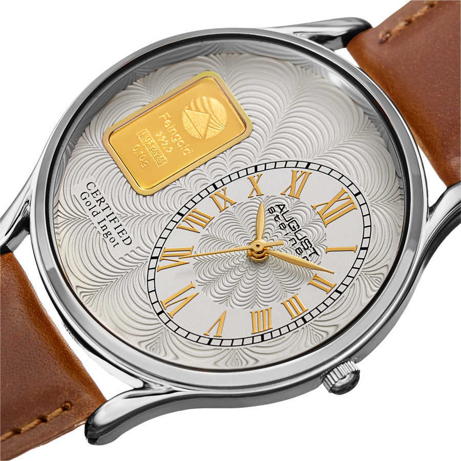 August Steienr Men's .10g Gold Bar Guilloche Dial Genuine Leather Strap Watch AS8224SS