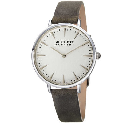 August Steiner - August Steiner Classic Women's Japanese Quartz 'Crazy Horse' Leather Strap Watch AS8187GY