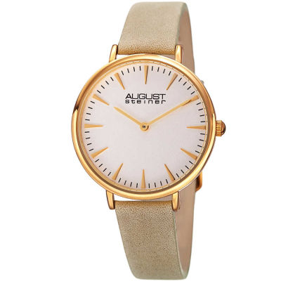 August Steiner - August Steiner Classic Women's Japanese Quartz 'Crazy Horse' Leather Strap Watch AS8187WTG