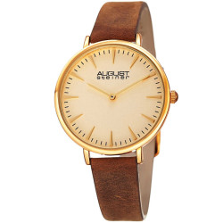 August Steiner Classic Women's Japanese Quartz 'Crazy Horse' Leather Strap Watch AS8187YGBR - Thumbnail