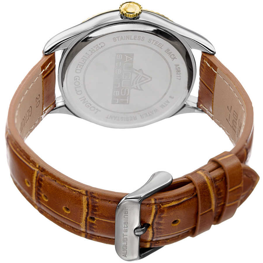 August Steiner Men's .10g Gold Bar Croco Leather Strap Watch AS8217BRG