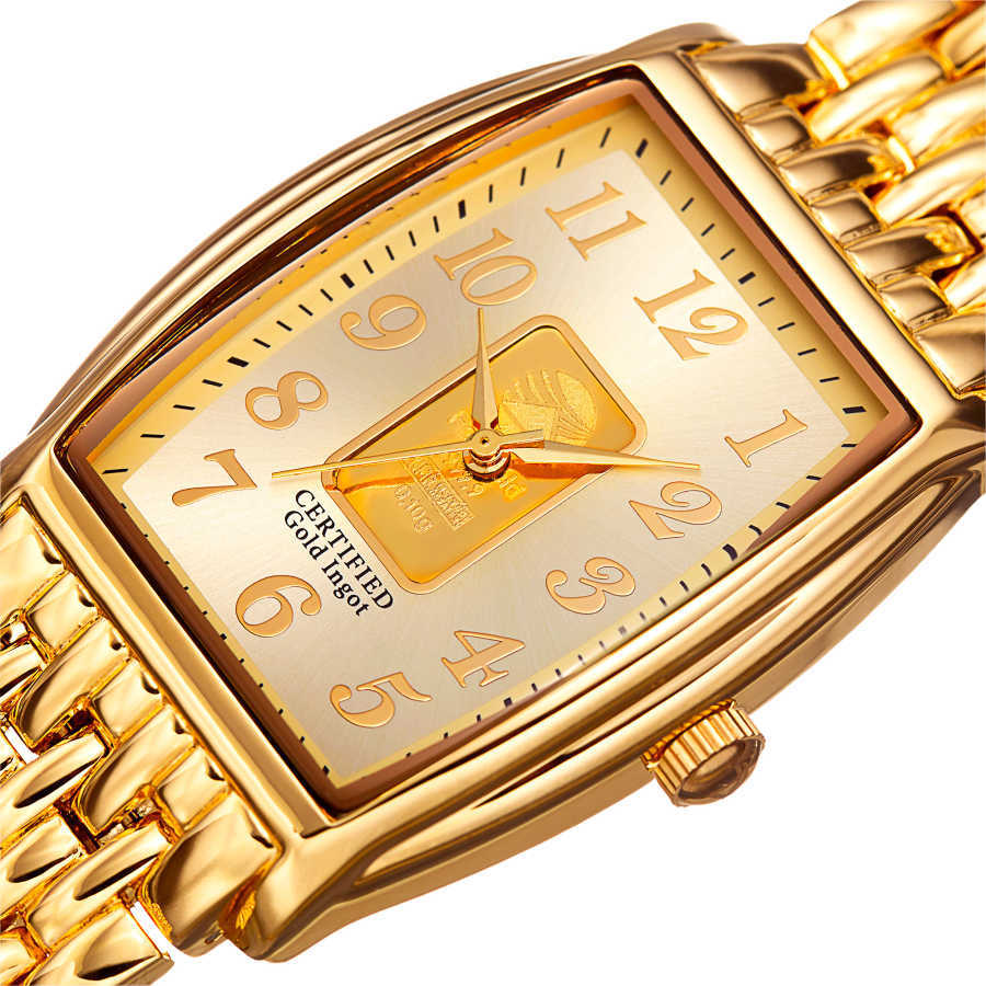 August Steiner Men's .10g Gold Bar Tonneau Bracelet Watch AS8226YG