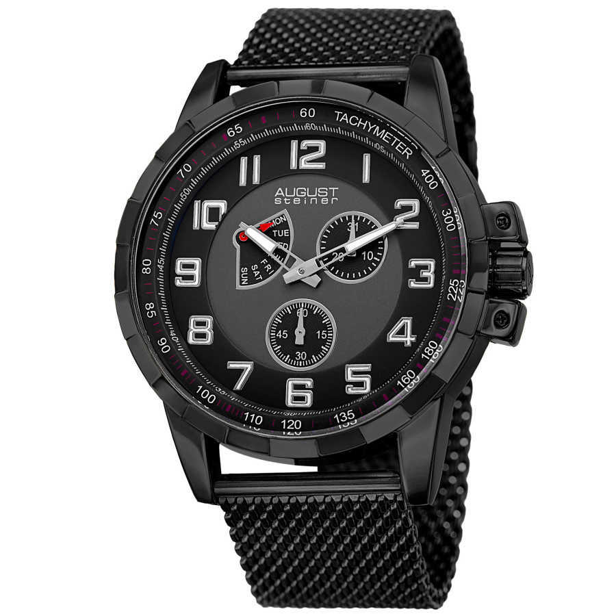 August Steiner Men's AS8202BK Round Black and Gray Dial Two Hand Quartz Bracelet Watch AS8202BK