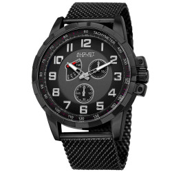 August Steiner Men's AS8202BK Round Black and Gray Dial Two Hand Quartz Bracelet Watch AS8202BK - Thumbnail