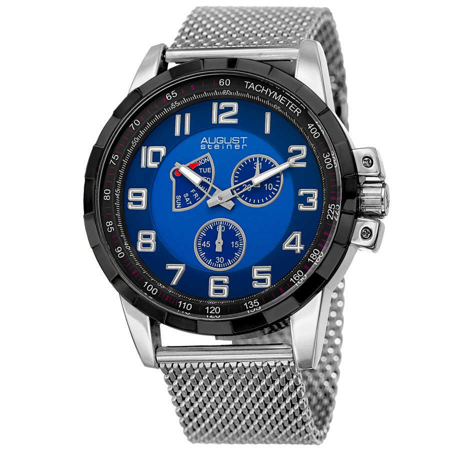 August Steiner Men's AS8202SSBU Round Blue Dial Two Hand Quartz Bracelet Watch AS8202SSBU