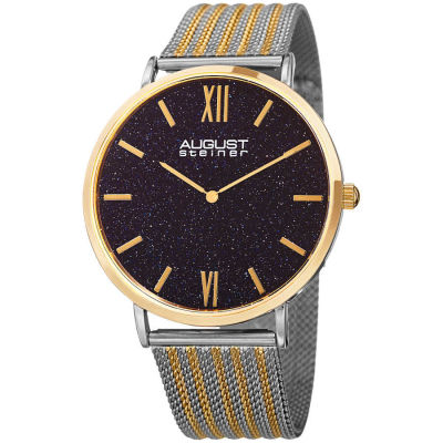 August Steiner - August Steiner Men's Blue Sand Stone Fine Mesh Bracelet Watch AS8218TTG