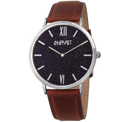 August Steiner - August Steiner Men's Blue Sandstone Dial Genuine Leather Strap Watch AS8211SSBU