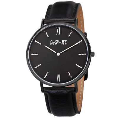 August Steiner - August Steiner Men's Classic Japanese Quartz Leather Strap Watch