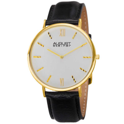 August Steiner - August Steiner Men's Classic Japanese Quartz Leather Strap Watch AS8166YG