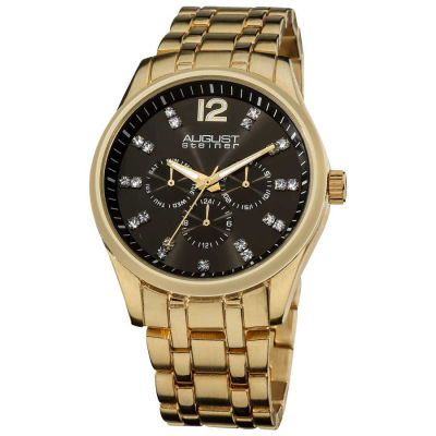 August Steiner - August Steiner Men's Crystal Markers Sunray Black Dial Bracelet Watch AS8068YG