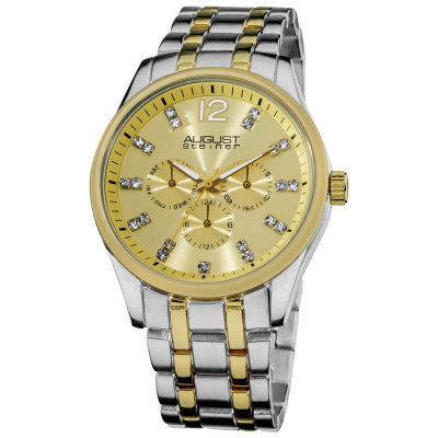 August Steiner - August Steiner Men's Crystal Markers Sunray Goldtone Dial Bracelet Watch AS8068TT