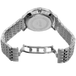 August Steiner Men's Day/Date Textured Link Bracelet Watch AS8215SSBU - Thumbnail