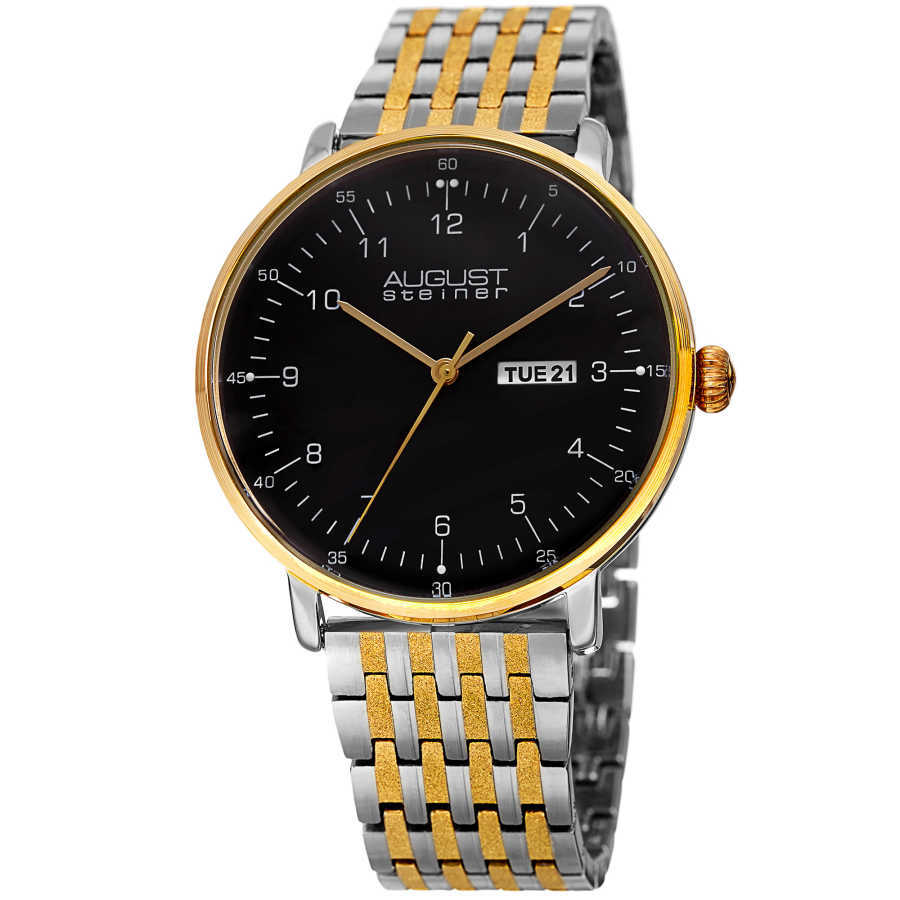 August Steiner Men's Day/Date Textured Link Bracelet Watch AS8215TTG