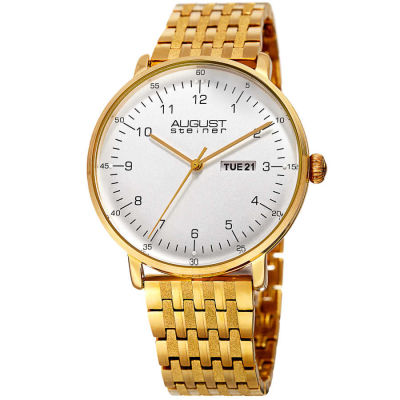 August Steiner - August Steiner Men's Day/Date Textured Link Bracelet Watch AS8215YG