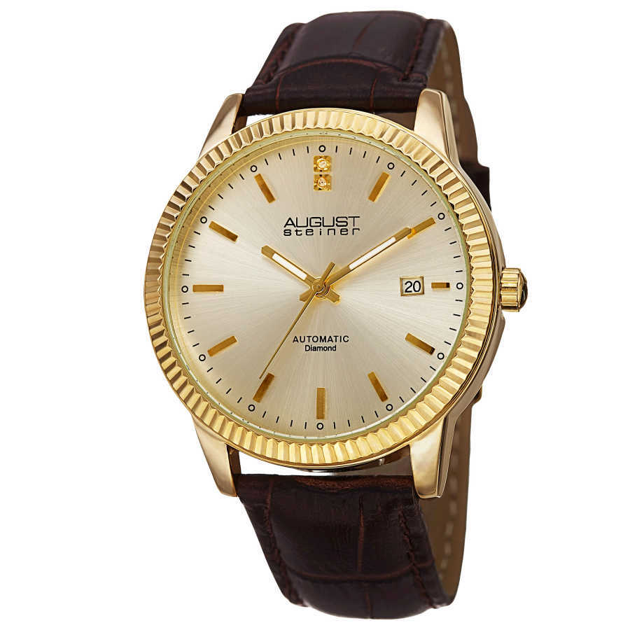 August Steiner Men's 'Diamond' Gold-Dial Automatic Watch AS8025YG