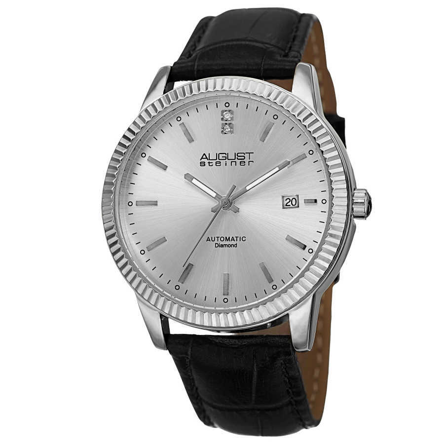 August Steiner Men's 'Diamond' Silver-Dial Automatic Watch AS8025SS