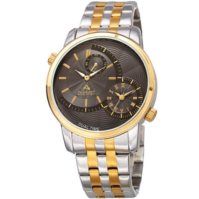 August Steiner - August Steiner Men's Dual Time Stainless Steel Bracelet Watch AS8210TTG