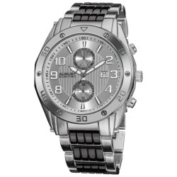 August Steiner Men's Embossed Dial Day/Month Water Resistant Bracelet Watch AS8070SS - Thumbnail