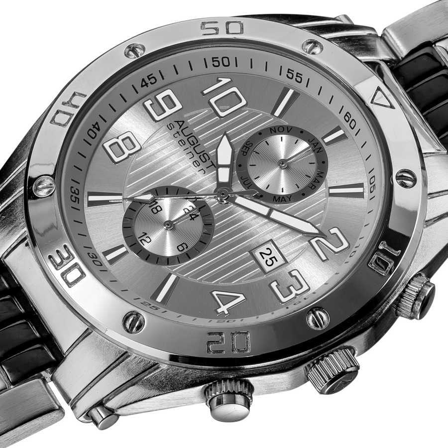 August Steiner Men's Embossed Dial Day/Month Water Resistant Bracelet Watch AS8070SS